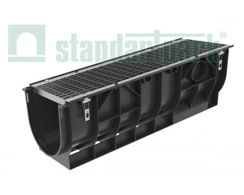 Лоток водоотводный PolyMax Basic ЛВ-30.39.38-ПП пластиковый с решеткой ячеистой стальной кл. А (комплект) 087001