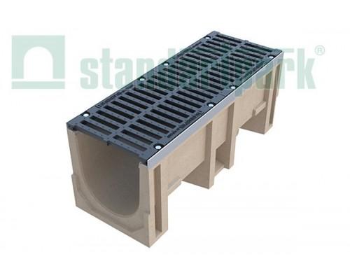 Лоток водоотводный CompoMax ЛВ–30.38.41-П полимербетонный с решёткой щелевой чугунной ВЧ кл. Е (комплект) 07700