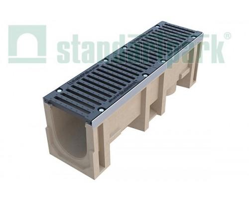 Лоток водоотводный CompoMax ЛВ-20.29.33-П полимербетонный с решеткой щелевой чугунной ВЧ кл. Е (комплект) 07500