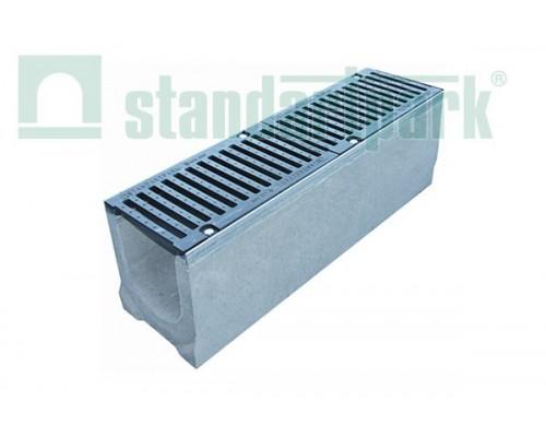 Лоток водоотводный BetoMax ЛВ-16.25.21-Б бетонный с решёткой щелевой чугунной ВЧ кл. F (комплект) 04341