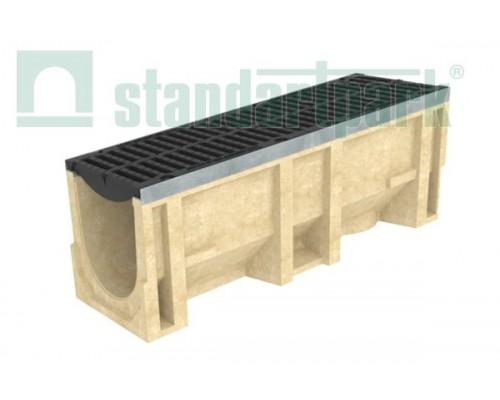 Лоток водоотводный CompoMax ЛВ–30.38.41-П полимербетонный с решёткой щелевой чугунной ВЧ кл. D (комплект) 07702