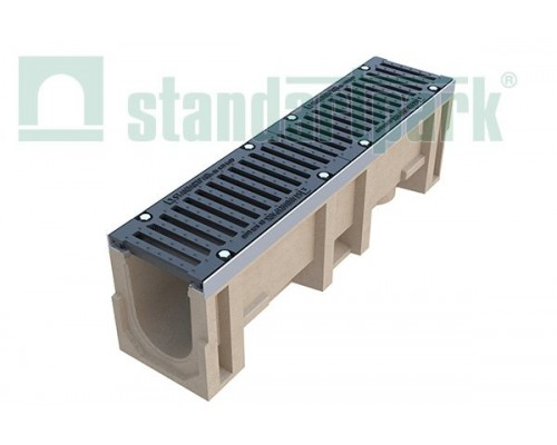 Лоток водоотводный CompoMax ЛВ-16.25.31-П полимербетонный с решёткой щелевой чугунной ВЧ кл. Е (комплект) 07300