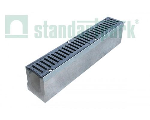 Лоток водоотводный BetoMax ЛВ-11.19.13-Б бетонный с решёткой щелевой чугунной ВЧ кл. Е (комплект) 04140