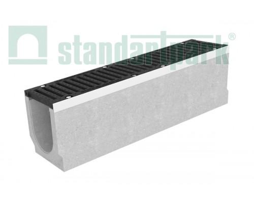 Лоток водоотводный BetoMax ЛВ–20.29.28-Б бетонный с решёткой ячеистой чугунной ВЧ кл.D (комплект) 045544