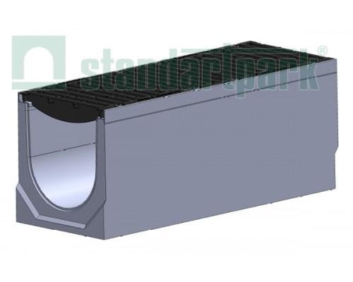 Лоток водоотводный BetoMax ЛВ-30.38.41-Б бетонный с решёткой щелевой чугунной дорожной ВЧД кл.Е (комплект) 047015