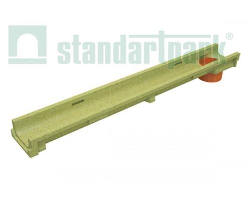 Лоток водоотводный CompoMax Basic ЛВ-10.14.06-ПВ полимербетонный с вертикальным водоотводом 701009