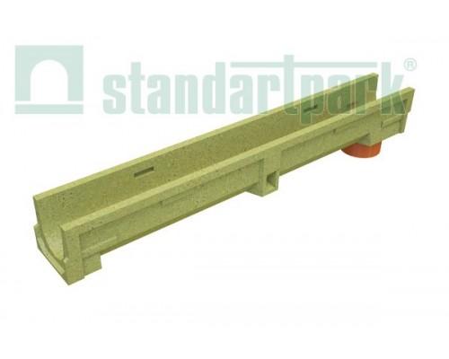Лоток водоотводный CompoMax Basic ЛВ-10.14.13-ПВ полимербетонный с вертикальным водоотводом 700009