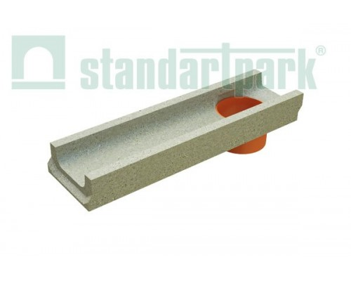 Лоток водоотводный BetoMax Basic ЛВ-10.14.06-БВ бетонный с вертикальным водоотводом 401009