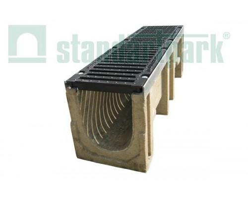 Лоток водоотводный CompoMax ЛВ-20.29.33-П полимербетонный с решеткой щелевой чугунной ВЧ кл. F (комплект) 07501