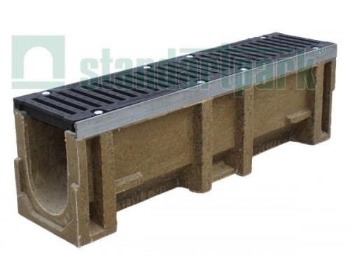Лоток водоотводный CompoMax ЛВ-16.25.31-П полимербетонный с решёткой щелевой чугунной ВЧ кл. F (комплект) 07301