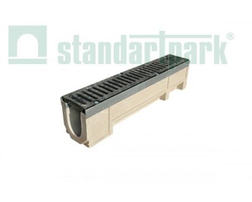 Лоток водоотводный CompoMax ЛВ-11.19.23-П полимербетонный с решёткой щелевой чугунной ВЧ кл. Е (комплект) 07100