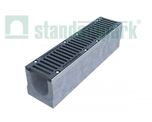 Лоток водоотводный BetoMax ЛВ-16.25.21-Б бетонный с решёткой щелевой чугунной ВЧ кл. Е (комплект) 04340