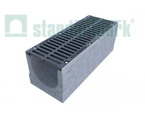 Лоток водоотводный BetoMax ЛВ-30.38.36-Б бетонный с решёткой щелевой чугунной ВЧ кл. Е (комплект) 04750